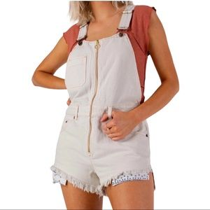 Free People Sun Kissed Short Overalls Off White